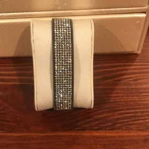 Swarovski crystal bracelet, grey suede